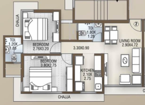 dgs sheetal tapovan apartment 2bhk 580sqft 1