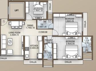 dgs sheetal tapovan apartment 3bhk 850sqft 1