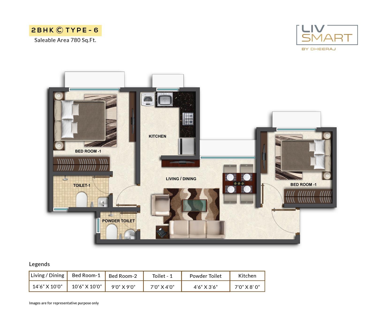 dheeraj liv smart apartment 1bhk 780sqft 1