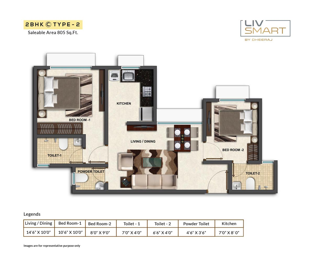 dheeraj liv smart apartment 2bhk 805sqft 1
