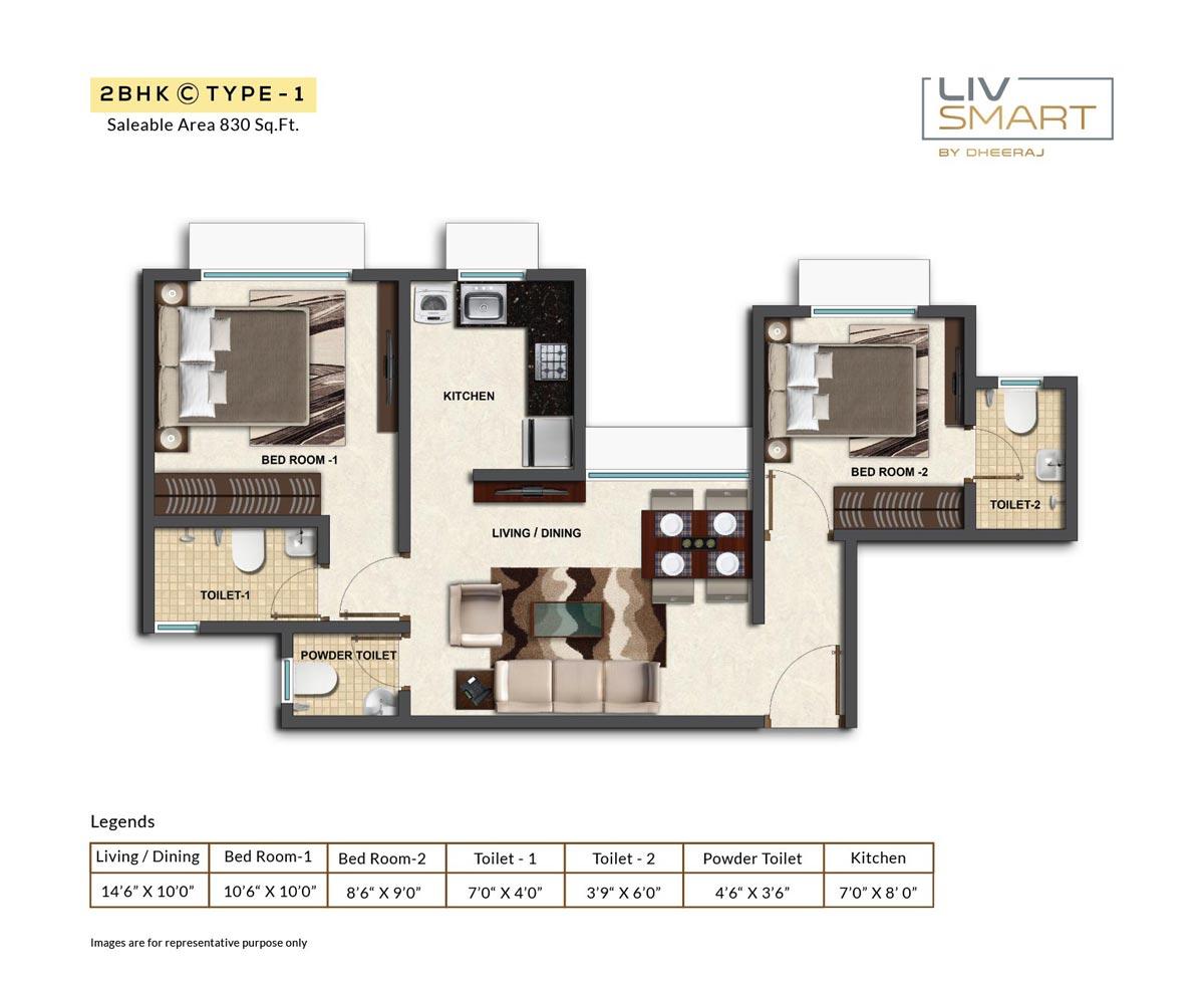 dheeraj liv smart apartment 2bhk 830sqft 1