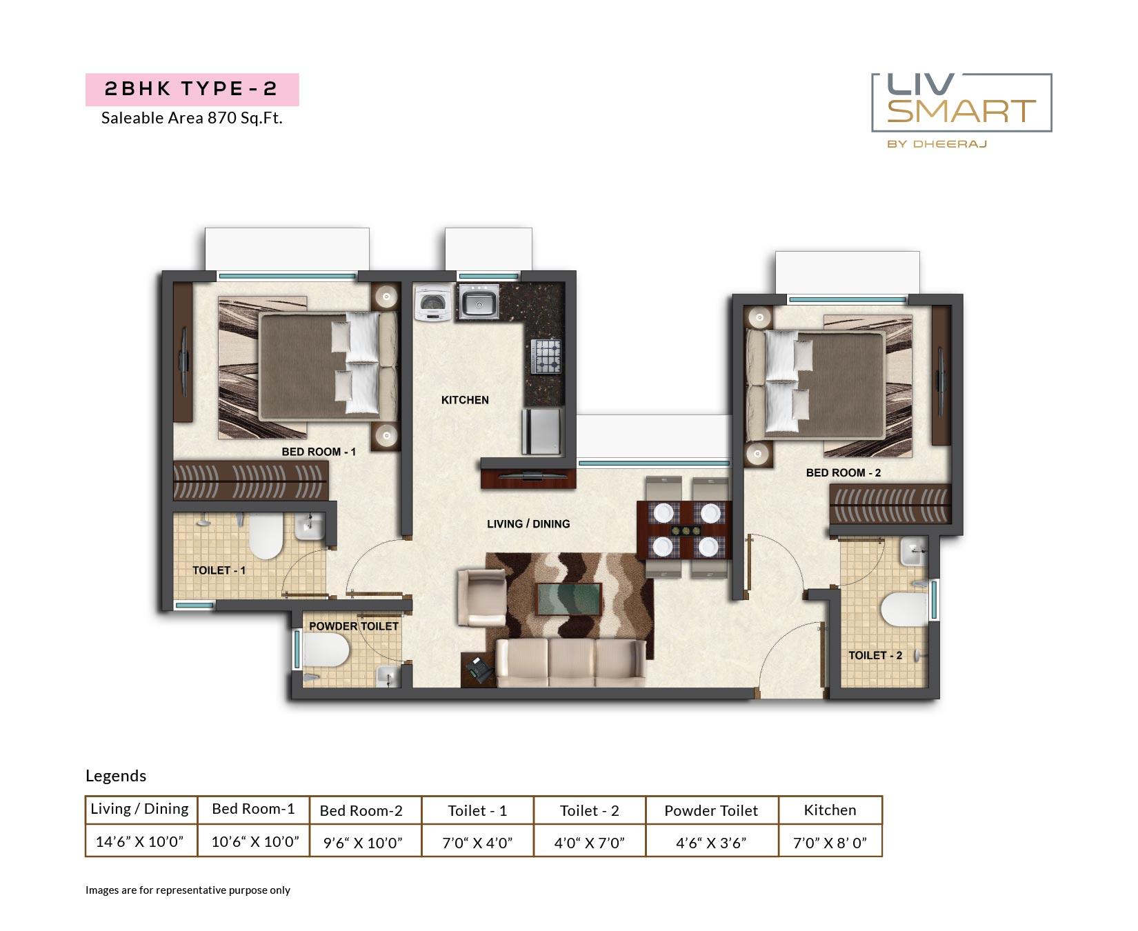 dheeraj liv smart apartment 2bhk 870sqft 1