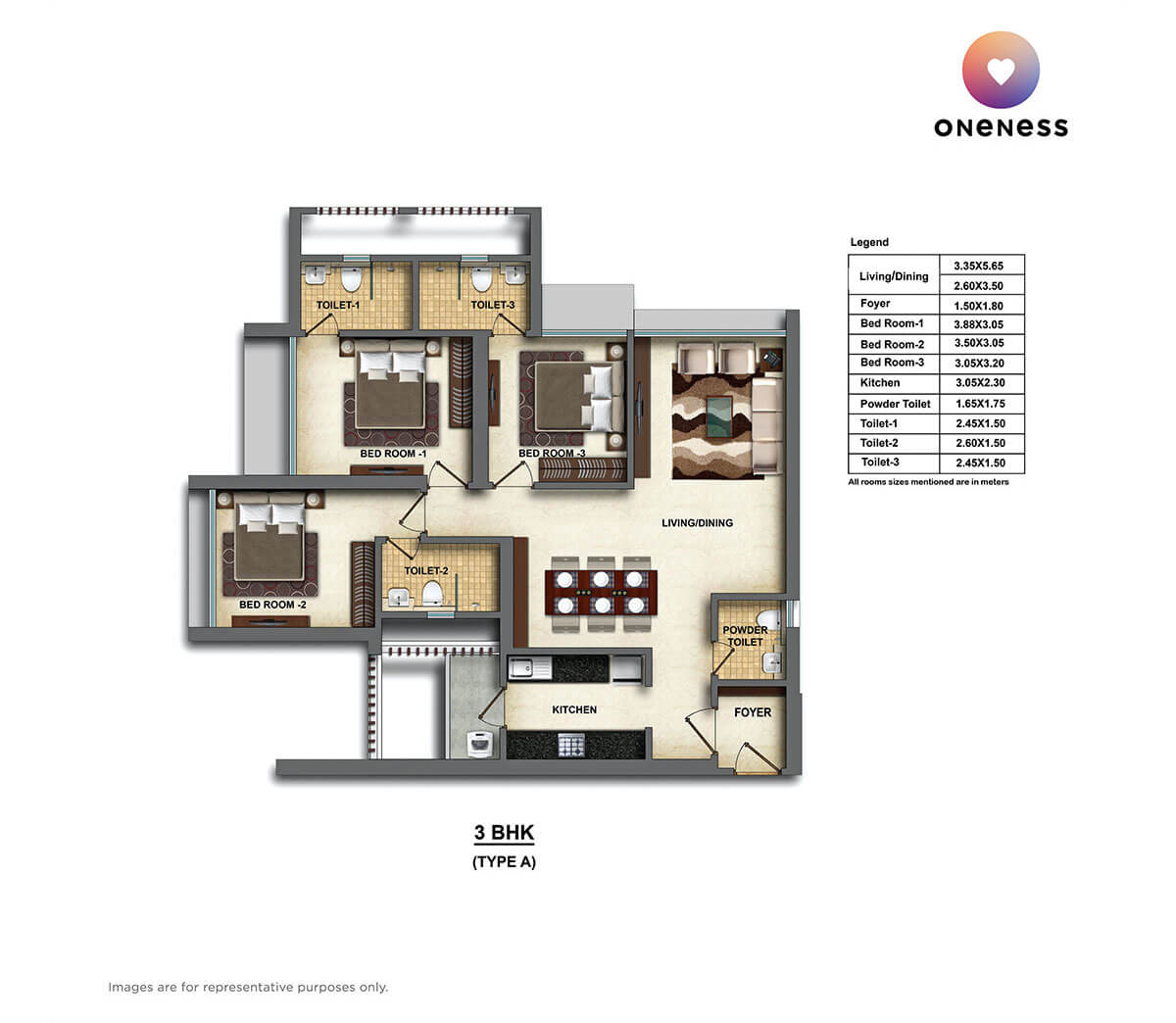 dheeraj oneness apartment 3bhk 1045sqft 1