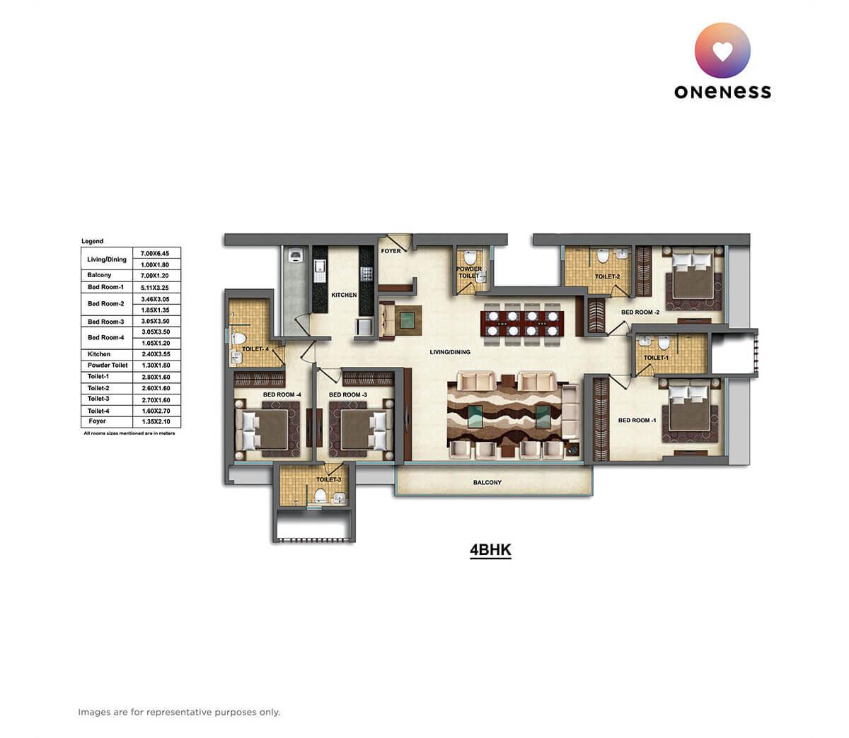 dheeraj oneness apartment 4bhk 1670sqft 1
