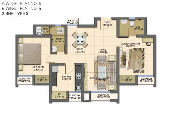 dosti planet north emerald apartment 2 bhk 929sqft 20201806111857