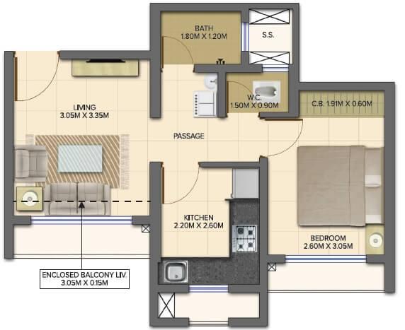 dosti planet north onyx apartment 1bhk 372sqft 1