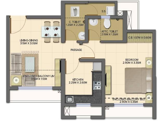 dosti planet north onyx apartment 1bhk 440sqft 1