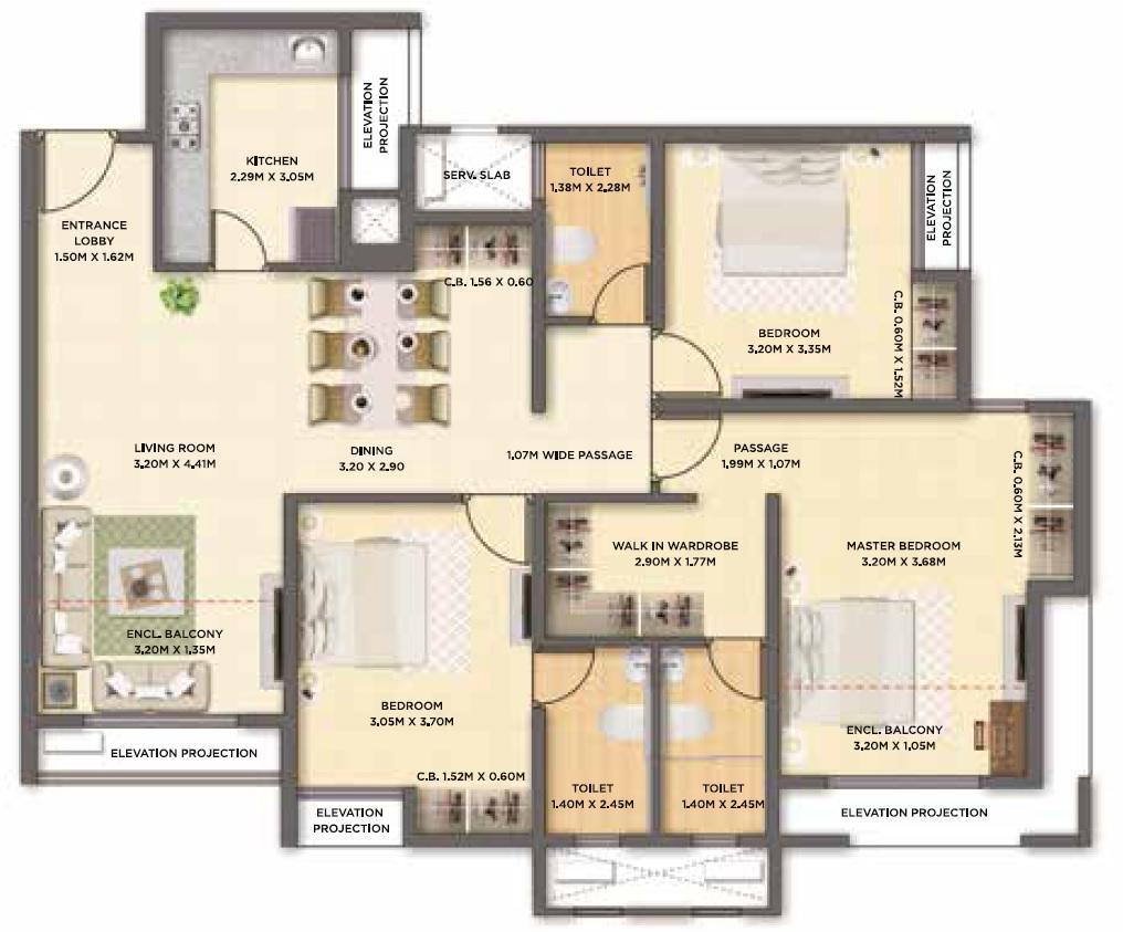 dosti west county apartment 3bhk 1033sqft 1