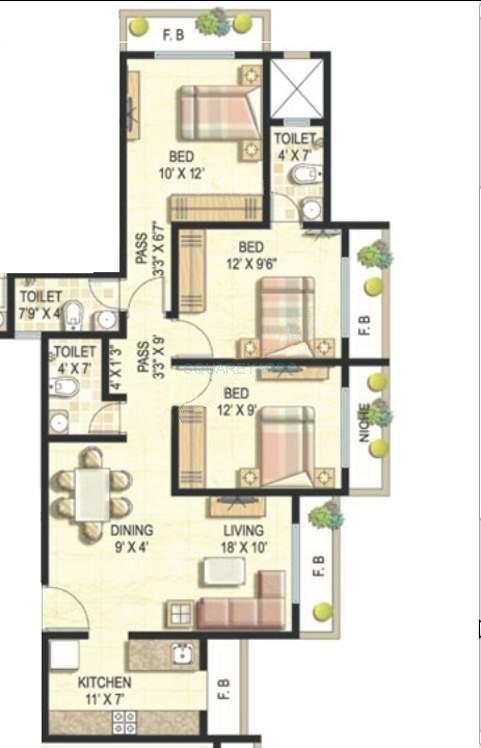 ekta world parksville apartment 3bhk 1240sqft1