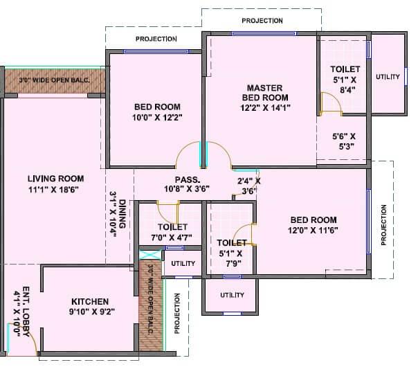 ekta world skypolis apartment 3bhk 1680sqft 1