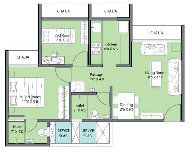 geecee aspira 206 apartment 2bhk 444sqft 1