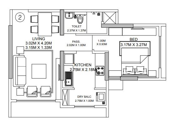godrej central apartment 1bhk 466sqft 51