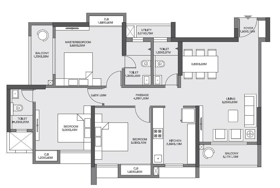 godrej emerald apartment 3bhk 1033sqft 1