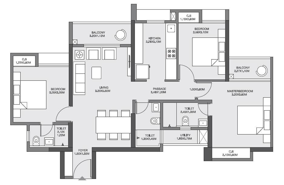godrej emerald apartment 3bhk 915sqft 1
