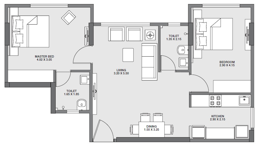 godrej tranquil apartment 2bhk 669sqft 1
