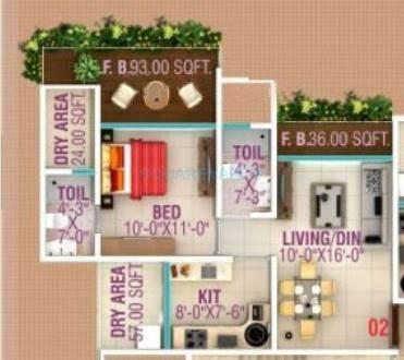 hpa spaces lareina residency apartment 1bhk 720sqft1