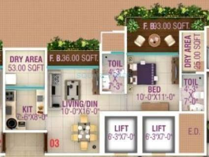 hpa spaces lareina residency apartment 1bhk 740sqft1