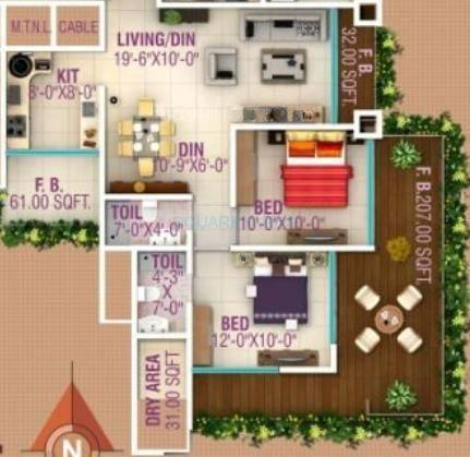 hpa spaces lareina residency apartment 2bhk 1165sqft1