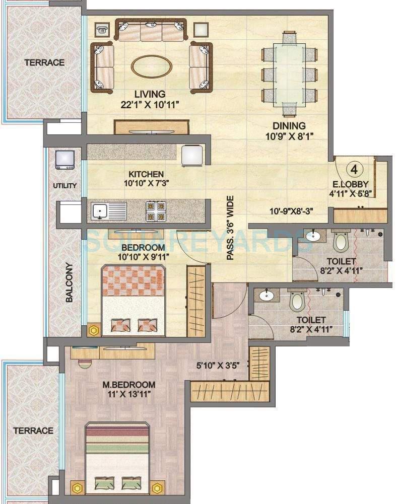 hubtown sunmist apartment 2bhk 1950sqft1