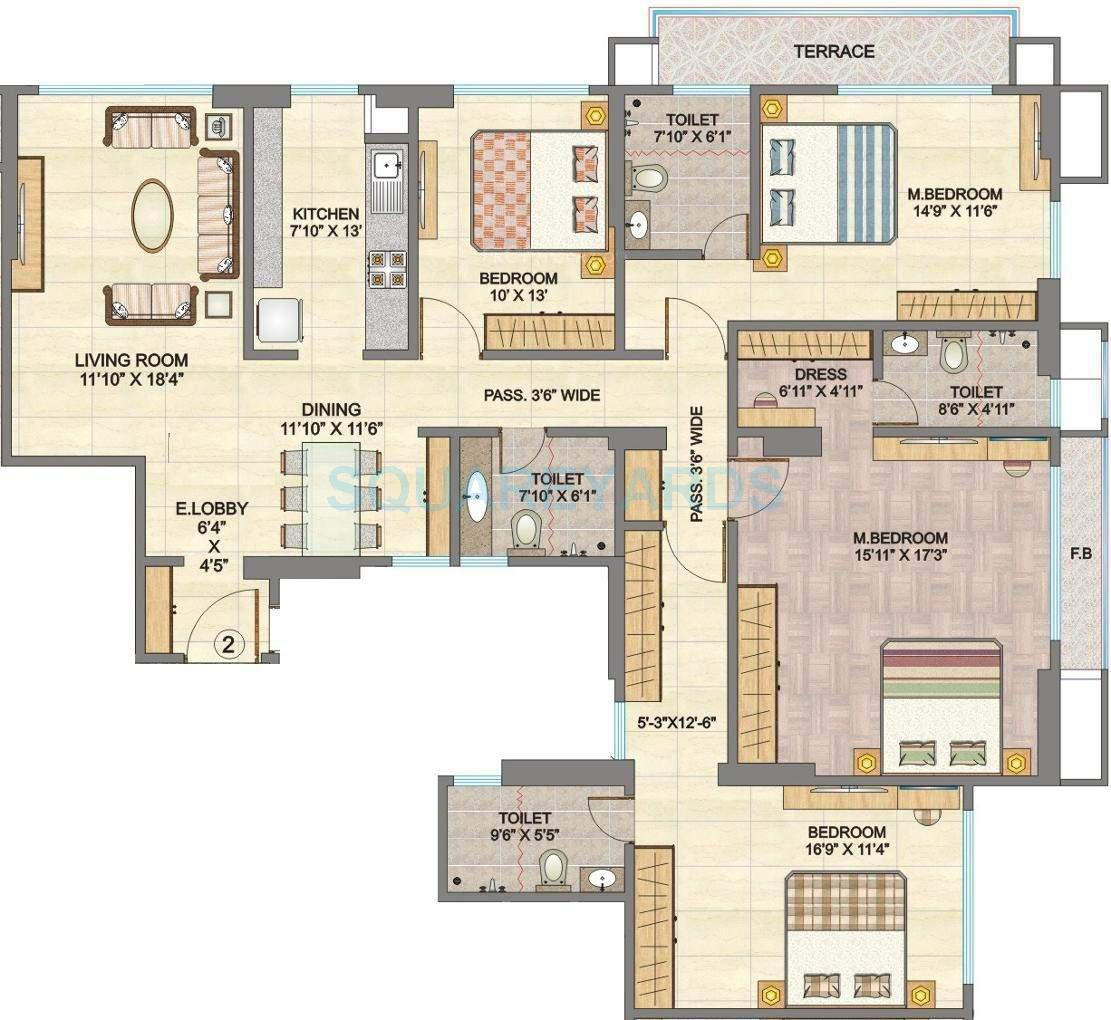 hubtown sunmist apartment 4bhk 2450sqft1
