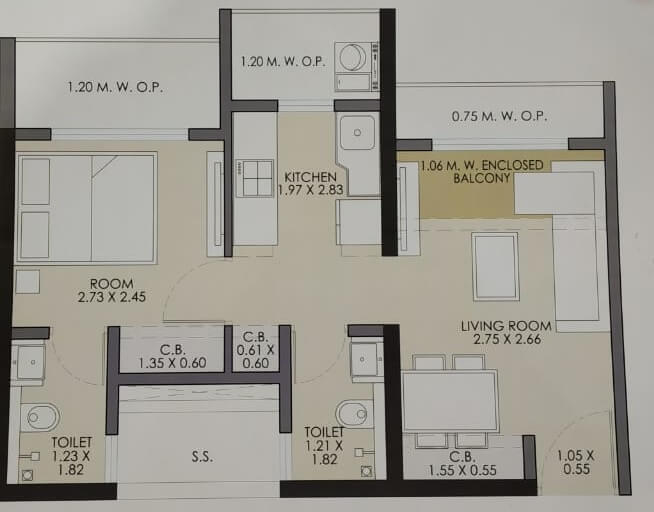 jp codename hotcake apartment 1bhk 295sqft 1