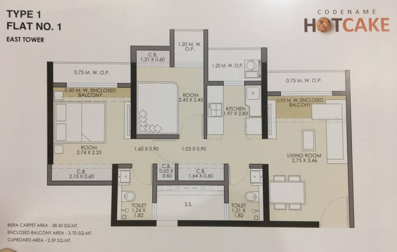 jp codename hotcake apartment 2bhk 407sqft 1