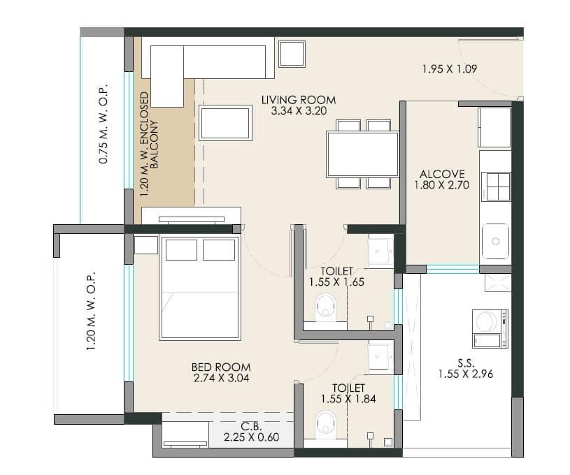 jp north apartment 1 bhk 455sqft 20212623122619