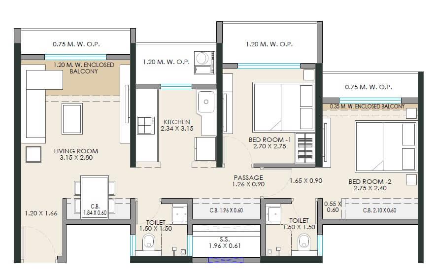 jp north apartment 2bhk 546sqft 1