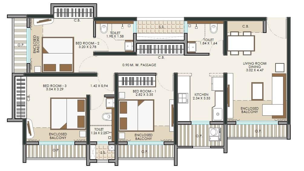 jp north apartment 3 bhk 930sqft 20213623123650