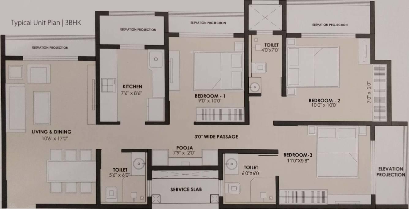 jp north apartment 3bhk 930sqft 191
