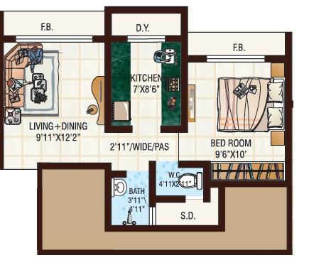 jvm tiara apartment 1bhk 452sqft 1