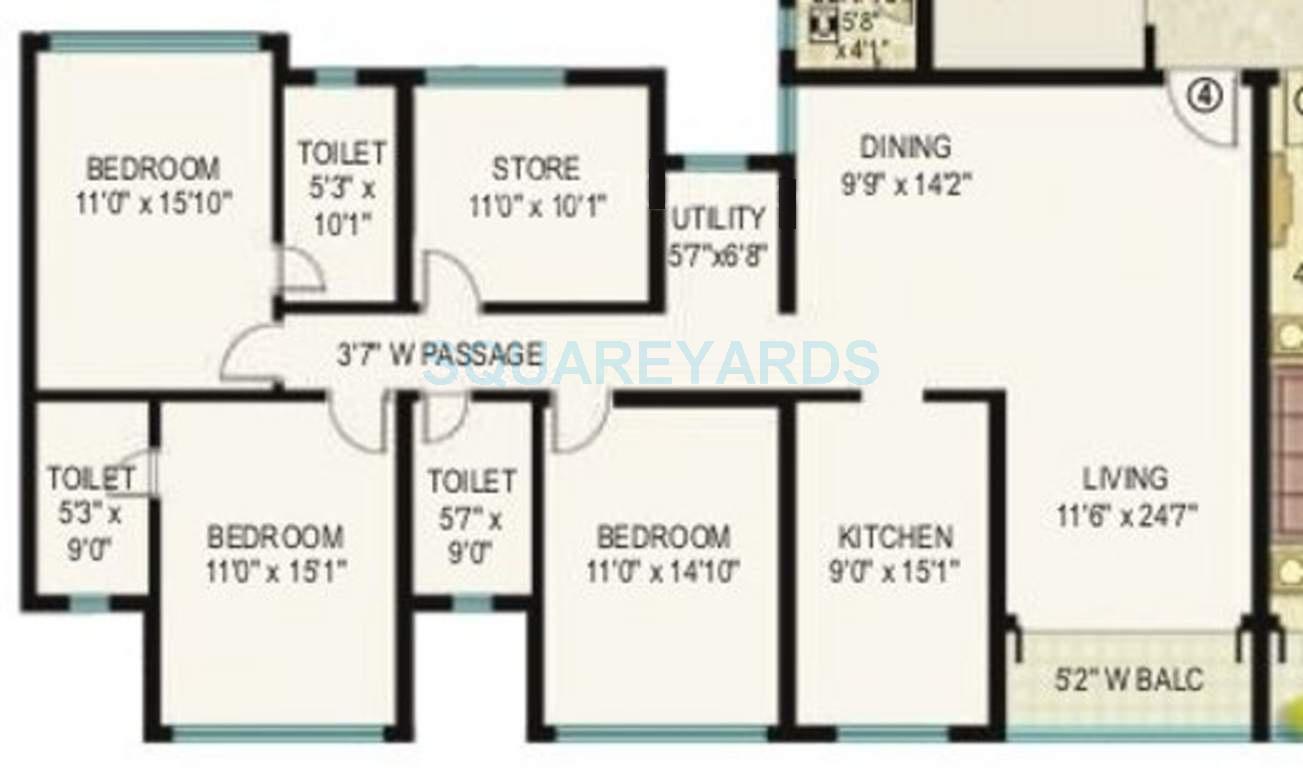 k raheja corp vistas apartment 3bhk 1191sqft 1