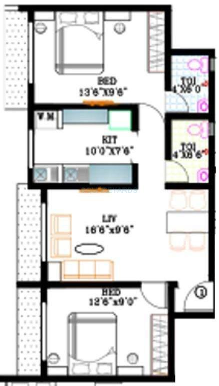 kabra nalanda apartment 2bhk 1050sqft1