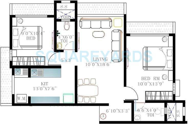 kabra nandanwadi apartment 2bhk 1040sqft1