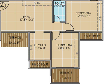 kalpana nestor apartment 2bhk 700sqft 1