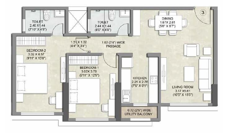 kalpataru bliss apartment 2bhk 752sqft 1