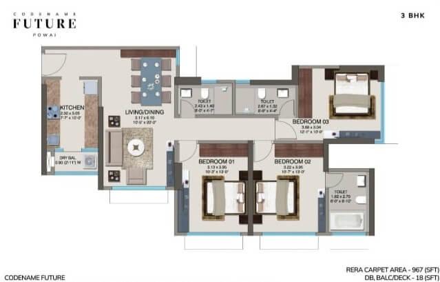 kanakia codename future apartment 3bhk 986sqft 1