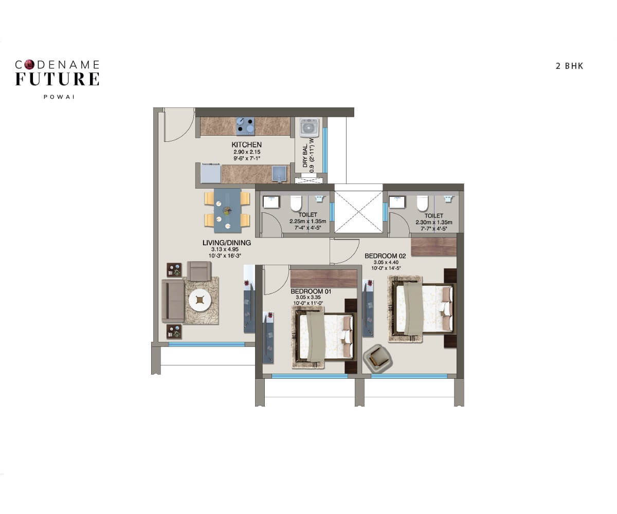 kanakia pixel apartment 2bhk 665sqft 1