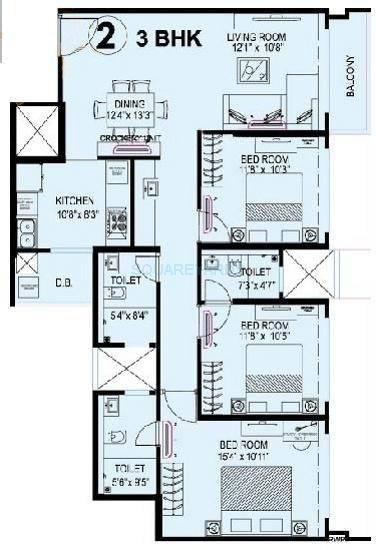kanakia spaces levels apartment 2bhk 1229sqft1