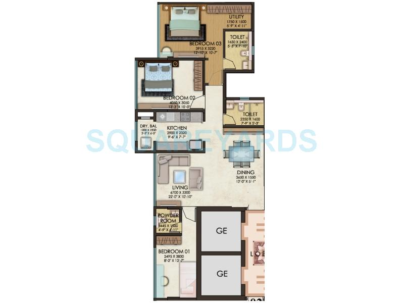 kanakia spaces paris apartment 3bhk 1241sqft 1