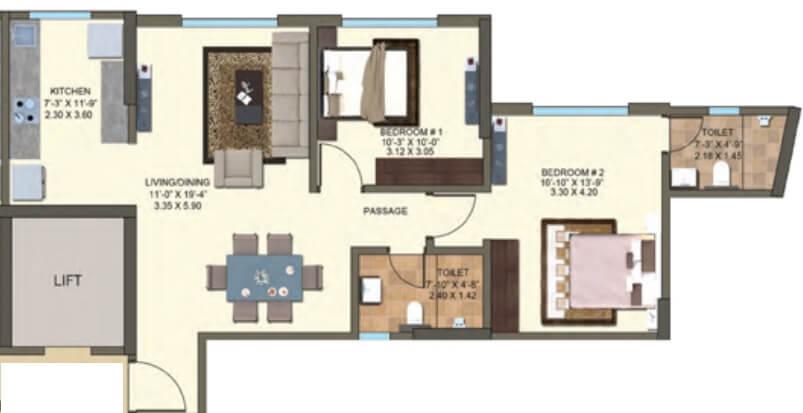 kanakia spaces zen world apartment 2bhk 732sqft 1
