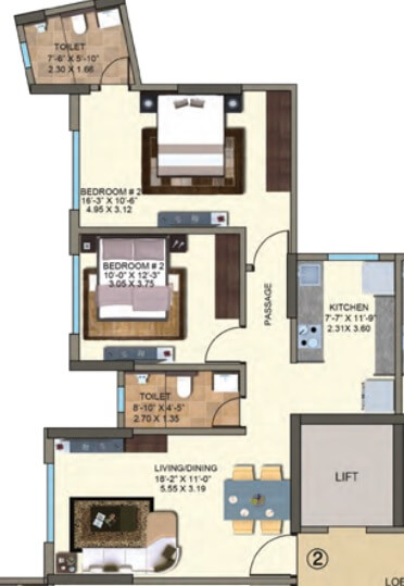 kanakia spaces zen world apartment 2bhk 750sqft 1