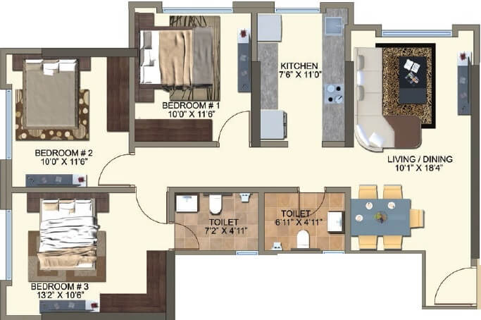 kanakia spaces zen world apartment 3bhk 1379sqft 1