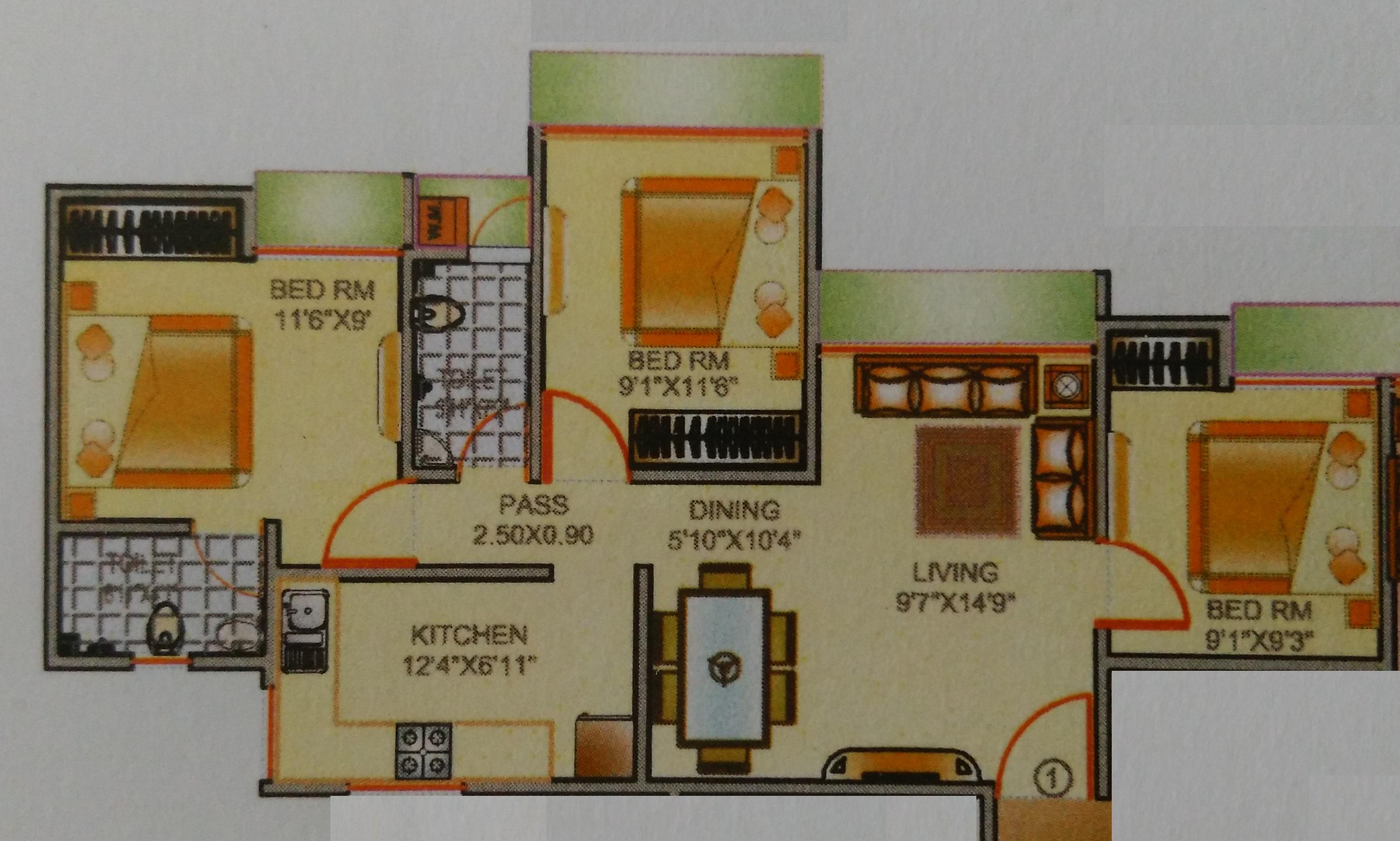 kavya park apartment 2bhk 1175sqft1