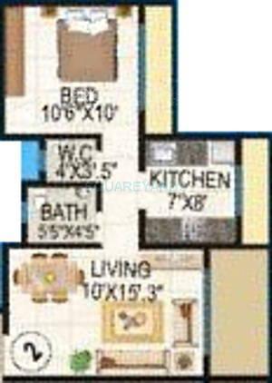 lakhani la riveria apartment 1bhk 695sqft1