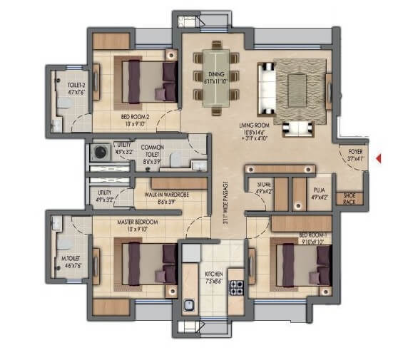 lodha amara apartment 3bhk 955sqft 1