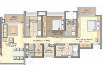 lodha aurum grande apartment 2 bhk 1336sqft 20215905125900