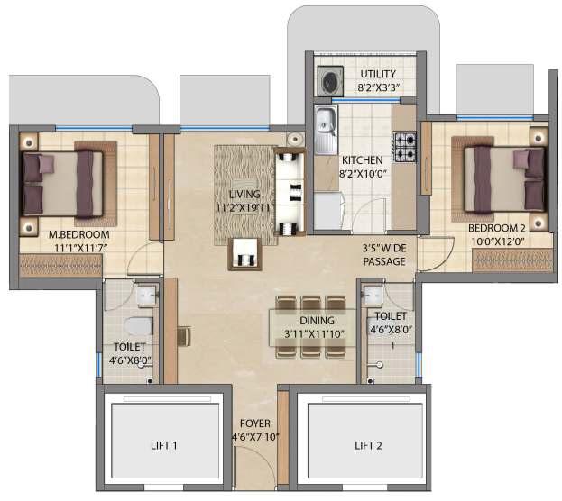 lodha bel air apartment 2bhk 781sqft 1