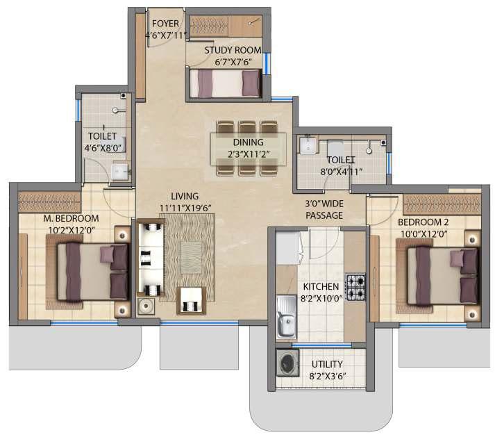 lodha bel air apartment 2bhk 820sqft 1