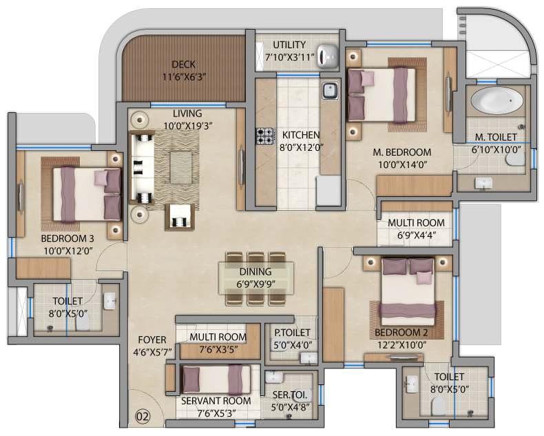 lodha bel air apartment 3bhk sq 1286sqft 1